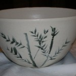 White electric-fired bowl with brush work